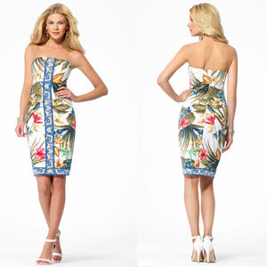 Cache Strapless Floral Tropical Cocktail Dress